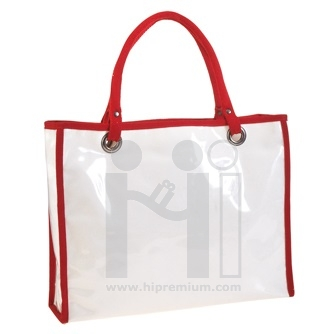 กระเป๋าผ้าดิบหุ้มพีวีซีใส กระเป๋าช้อปปิ้งสั่งทำ