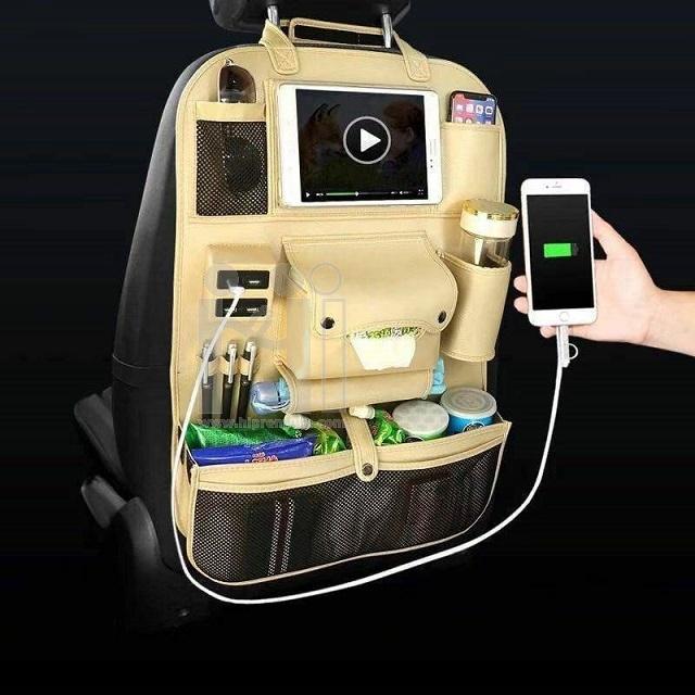 กระเป๋าหลังเบาะรถยนต์ มีช่อง USB