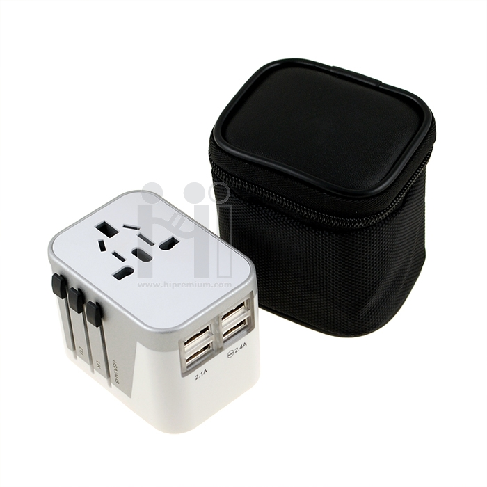 ปลั๊กไฟทั่วโลก International Travel Plug Adapter  4 Port USB Travel Charger