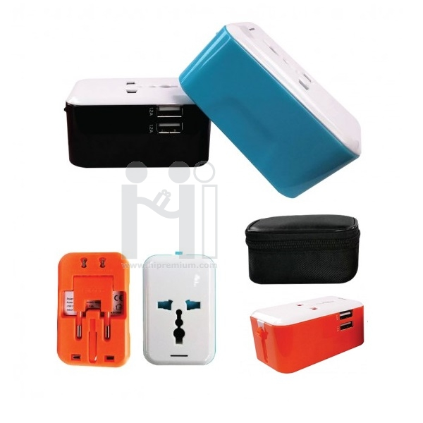 ปลั๊กไฟทั่วโลก International Travel Plug Adapter <br> USB Travel Charger