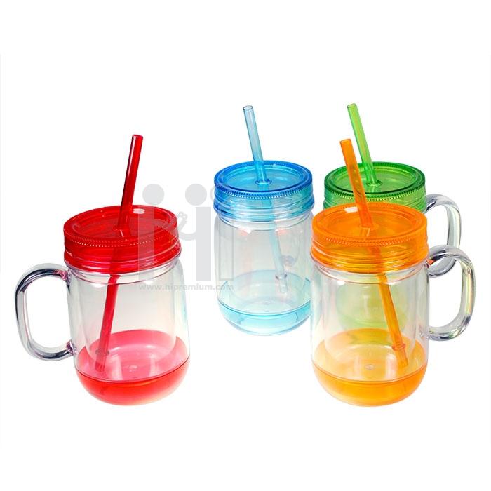 แก้วน้ำพลาสติกพร้อมหลอด แก้วน้ำมีฝาปิด