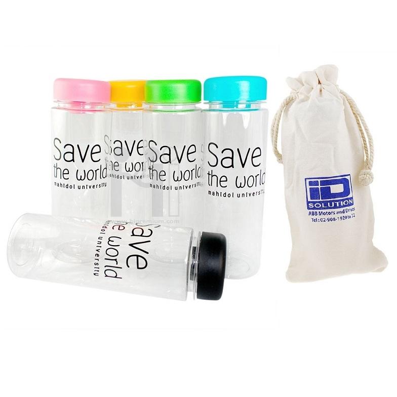 กระบอกน้ำพลาสติก บรรจุถุงผ้า กระติกน้ำพลาสติก พรีเมี่ยม