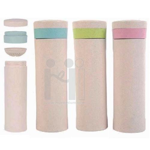Eco Bottle กระบอกน้ำฟางข้าวสาลี กระบอกน้ำตลับยา กรองชา