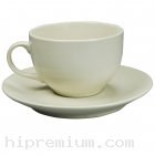 ชุดแก้วกาแฟพร้อมจานรองแก้วสีครีม