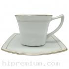ชุดแก้วกาแฟพร้อมจานรองแก้วขอบทอง<br>สั่งขั้นต่ำ100ชุด