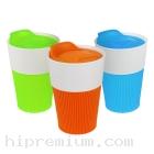 แก้วมัก มียางจับกันลื่น พร้อมฝาปิด แก้วกาแฟเซรามิกมัค