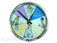 นาฬิกาแขวนกลม 12.5  นิ้ว  ขอบชุบสีเงินเงา