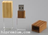 3D crystal USB flash drive <br> แฟลชไดร์ฟไม้สลับแก้วคริสตัลใส3มิติ แฟลชไดร์ฟเรืองแสงเลือกสีของแสงได้