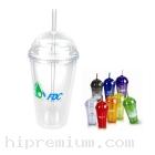 แก้วอะคริลิกฝาโดมพร้อมหลอดดูด<br>แก้วน้ำสั่งขั้นต่ำ100ใบ
