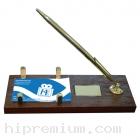 ปากกาโลหะด้ามทองชุดตั้งโต๊ะไม้