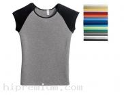 เสื้อยืดคอกลม <br /> แขนกุดแบบตัดต่อแขน